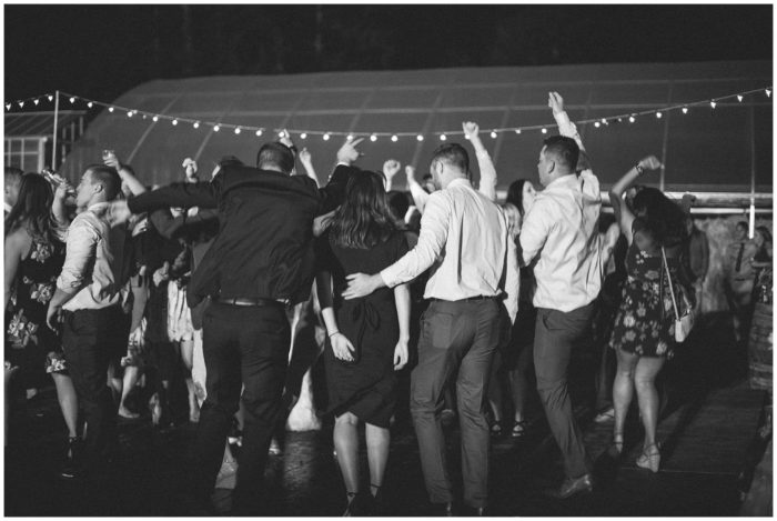 bridal party dancing at the rustic oregon wedding