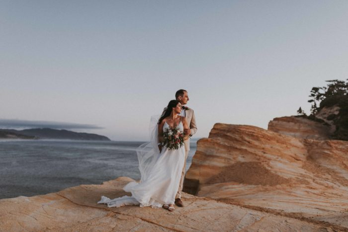 bride and groom at their 2019 cape kiwanda elopement on the oregon coast